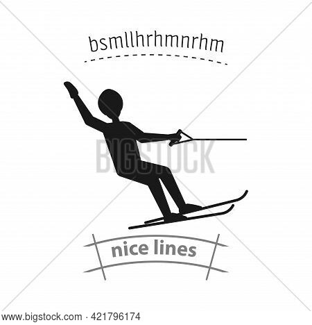 Water Skiing Simple Vector Icon. Water Skiing Isolated Icon