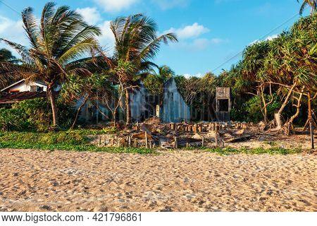 Ruins of a house on beach destroyed by tsunami, Hikkaduwa, Sri Lanka