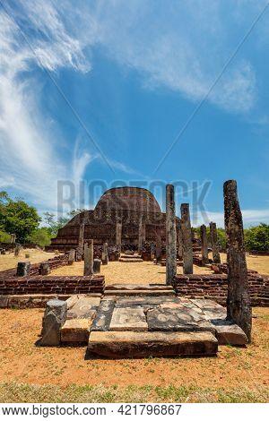 Ancient Buddhist dagoba (stupa) Pabula Vihara. Ancient city of Pollonaruwa, Sri Lanka