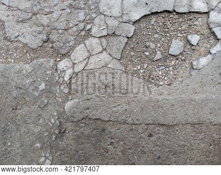 Grey Cracked Concrete Floor Texture And Background
