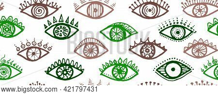 Hand Drawn Open Eyes Abstract Repeatable Pattern. Pop Art Graphic Style Illustration. Fashion Packag