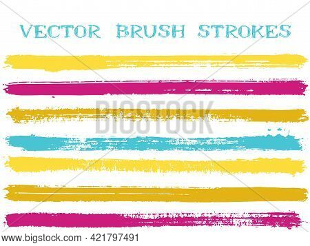 Blue Yellow Pink Ink Brush Strokes Isolated Design Elements. Set Of Paint Lines.
