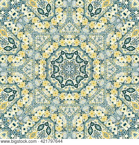 Classic Seamless Pattern With Geometric Elements Composition. Ethnic Indian Motif.