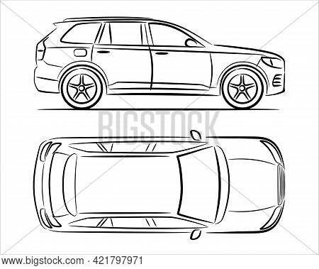 Modern Suv Car Abstract Silhouette On White Background. Vector Line Art. Vehicle Icons Set View From