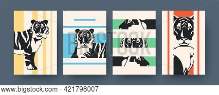 Set Of Contemporary Art Posters With Tiger Fragments. Vector Illustration. .collection Of Running, S