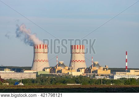 Nuclear Power Plant Production Clean Energy From Source Renewable Energy. Industrial Zone With Power