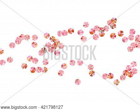 Rosy Gold Paillettes Confetti Scatter Vector Background. International Women's Day March 8th Card Ba