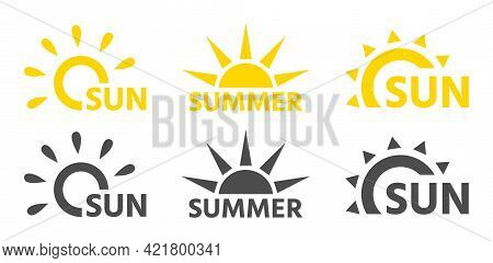 Abstract Suns Logos For The Company In Black And Yellow, Text Sun And Summer. Vector Flat Style Set.