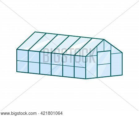 Isometric Glass Greenhouse Isolated On White Background. Farm Building For Growing Vegetables. Garde