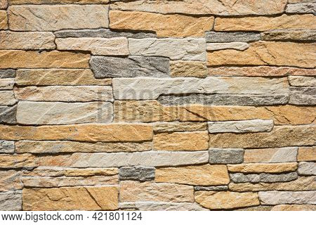 Masonry Made Of Bricks Of Different Types, Shapes And Colors For The Whole Frame, Closely Matched To