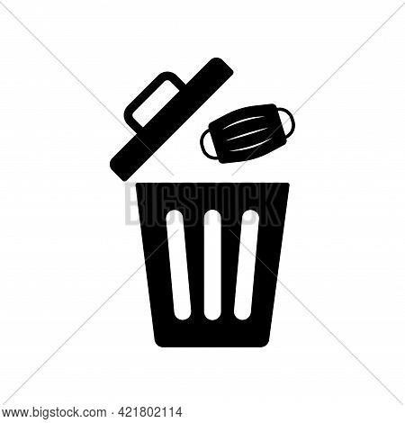 Used Medical Face Mask Vector Icon. Throw Face Mask In The Waste Trash Bin. Garbage Bin And Dirty Ma