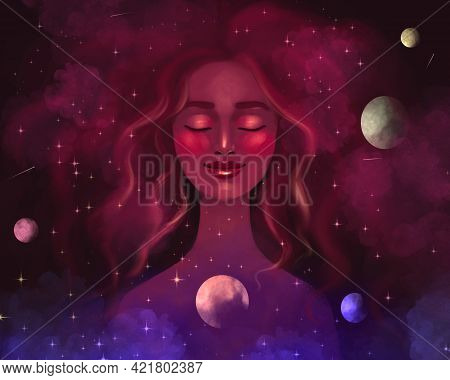 Drawn Woman Girl On The Background Of The Cosmos Of The Universe And Stars, With Closed Eyes And A S