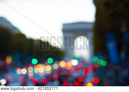 Paris, France, 1.11.2019 - Blurred Lights Of Cars And Traffic Lights On Champs Elysees With Recogniz