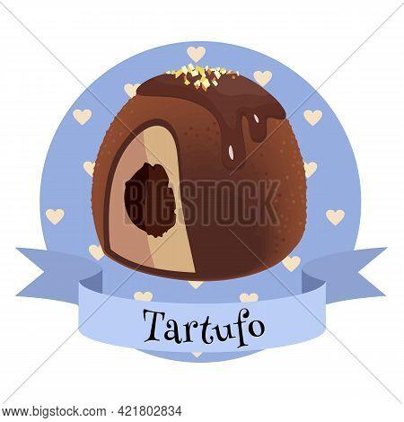 Italian Dessert Tartufo. Colorful Cartoon Style Illustration For Cafe, Bakery, Restaurant Menu Or Lo