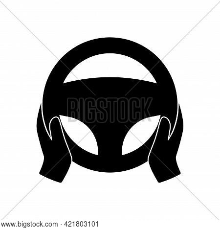 Steering Wheel Icon. Hands On Steering Wheel. Driver. Driving Car Symbol. Test Drive. Vector Silhoue
