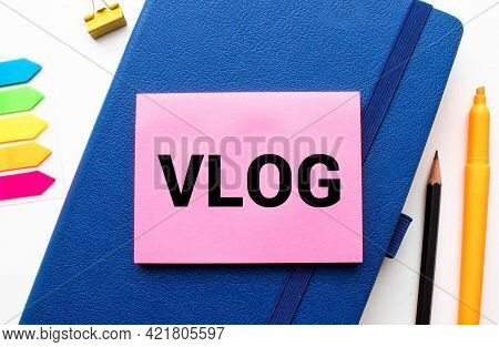 Word Writing Text Business Vlog. Business Concept For A Video Content About Subject Matter Related T