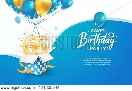 Celebrating 65th Years Birthday Vector Illustration. Sixty Five Anniversary Celebration. Adult Birth