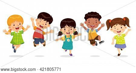 Cute Boys And Girls Jumping With Joy And Fun. Cartoon Character Vector.