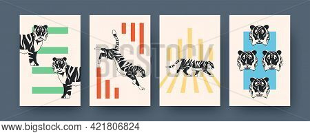 Set Of Contemporary Art Posters With Tiger Theme. Vector Illustration. .collection Of Running, Sitti