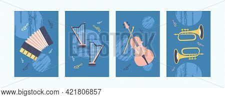 Colorful Collection Of Art Posters With Musical Instrument. Bright Music Instruments In Creative Sty