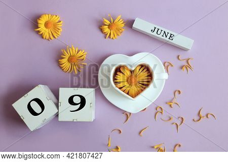 Calendar For June 9: The Name Of The Month Of June In English, Cubes With The Numbers 0 And 9, A Cup