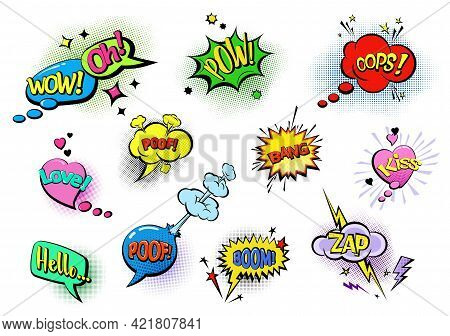 Comic Colored Speech Bubbles With Text. Sound Emotes And Comics Cues. Sound Effects In Pop Art Style