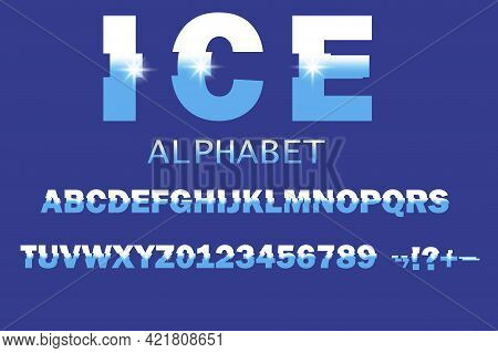 Ice Alphabet In Realistic Style On Blue Background. Vector Illustration. Stock Image.