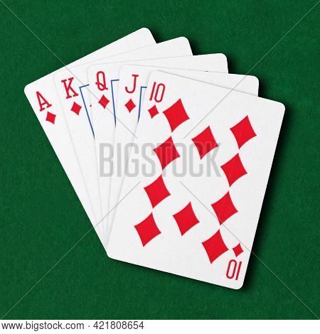 Diamonds Royal Flush Flat On Green Card Table Winning Hand Business Concept