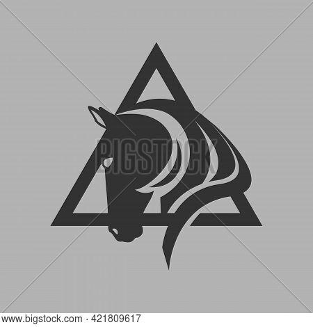 Powerfull Black Stallion Horse Head Logo Vector Symbol The Silhoutte Of Horse In Illustration Design