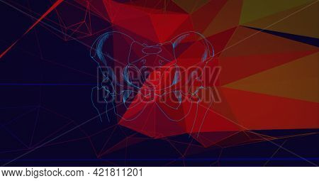Composition of blue light trails over network of connections. global data processing, networking, business and technology concept digitally generated image