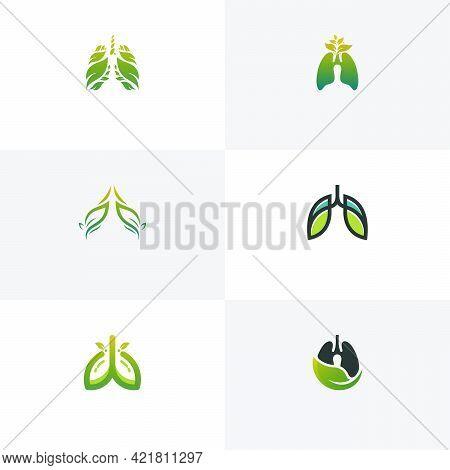 Set Of Green Lung Care Logo Designs Vector, Eco Lungs Logo Concept Vector, Lungs Health Logo Templat