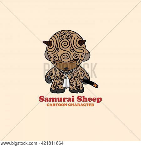 Samurai Sheep Icon Cartoon Character. Samurai Sheep Illustration Vector