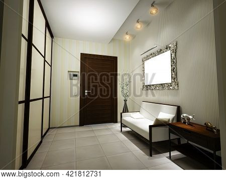 3d Illustration Of The Interior Design Of An Apartment Hall In A Modern Classic Style. Render Hall F