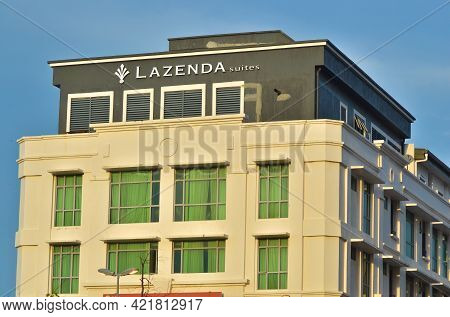 Labuan,malaysia-april 25,2021:view Of Hotel Known As Lazenda Hotel In Labuan Ft,malaysia. It Is An I