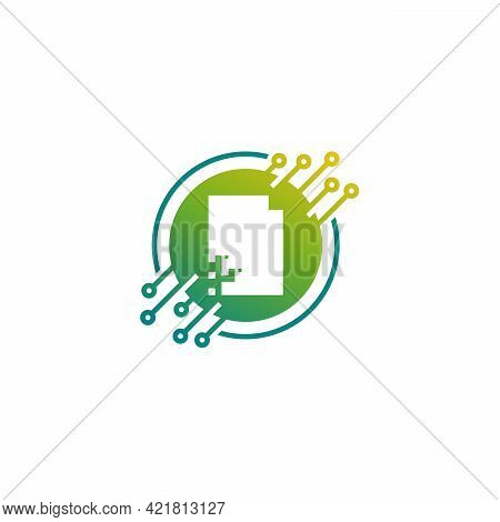 Digital Document Logo Designs Concept Vector, Pixel Document Logo Template, Technology Data Icon Log