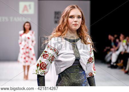 Minsk. Belarus. 04 April 2021: Anniversary 20th Season Online - Belarus Fashion Week. Presentation O