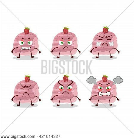 Strawberry Ice Cream Scoops Cartoon Character With Various Angry Expressions