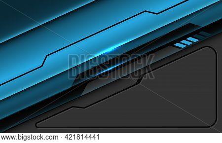 Abstract Blue Metallic Black Line Circuit Cyber Geometric On Grey With Blank Space Design Modern Fut