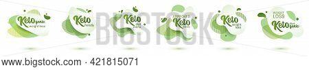 Keto Frendly Badge Set. Green Amoeba Design Of Sticker For Keto Diet Menu, Poster, Flyer.