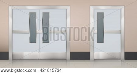 Empty Corridor With Double Doors To Laboratory, Hospital Room Or Restaurant Kitchen. Vector Realisti
