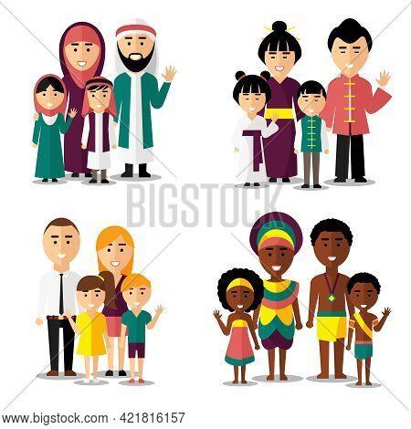 African, Asian, Arab And European Families. Family Asian, Family African, Family European, Family As