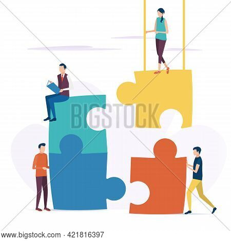 The Concept Of Business Teamwork. Business Problem Solutions. Cooperative Solution Of The Puzzle. Ve