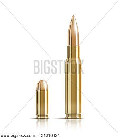 Vector Ammunition Bullets On White Background. Eps10 Opacity. Editable Eps And Render In Jpg Format