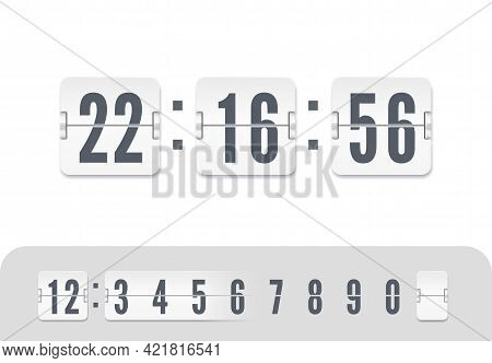 White Scoreboard Number Font. Flip Countdown Number On White. Vintage Clock Time Counter. Vector Ill