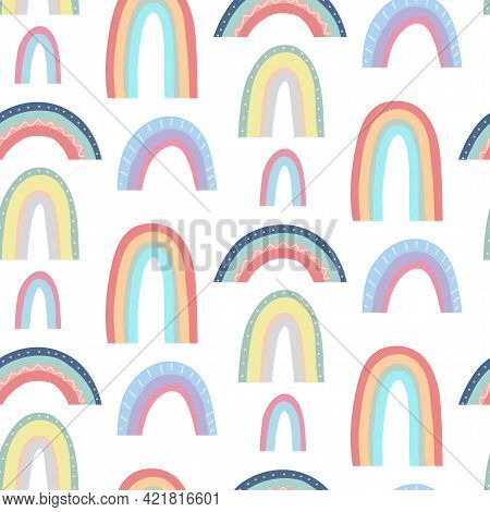 Cute Childish Pattern With Different Rainbows On A White Background. Vector Natural Texture. Gentle