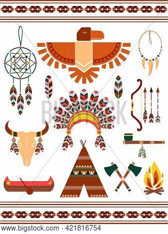 Aztec And Mayan Indian Decorative Vector Elements