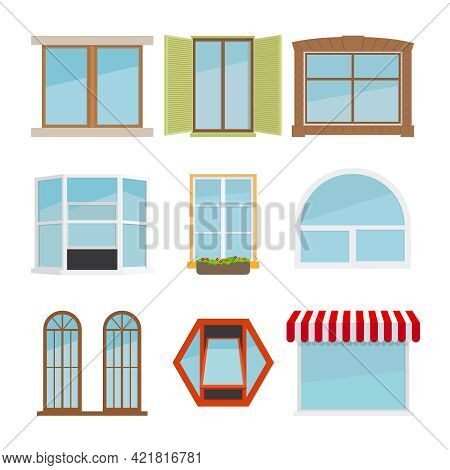 Vector Flat Window Set. Glass Design Elemen Icon, Architecture Construction, Exterior And Frame