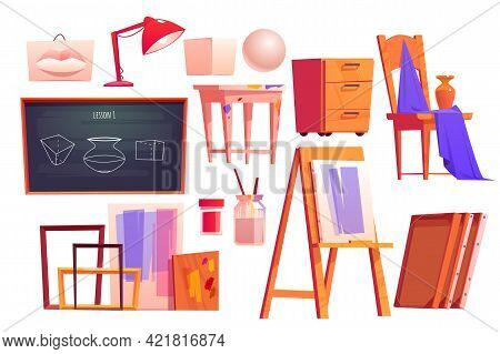Art Classroom Furniture, Equipment For Artist Studio. Easel, Chalkboard, Frames, Canvas, Paints And