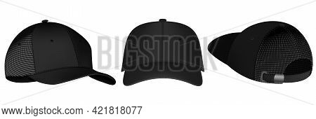 Design Template, Vector Realistic White Baseball Cap Front, Back And Side View Isolated On Backgroun