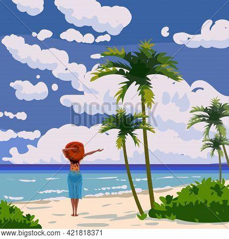 Tropical Island Beach Woman Enjoy Vacation, Summer Resort, Seashore Sand, Palms, Waves. Ocean, Sea E